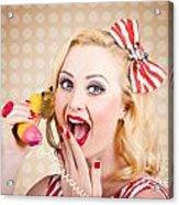 Woman On Banana Telephone. Health Eating News Acrylic Print