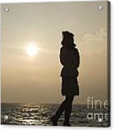 Woman Walking On The Lake Front Acrylic Print