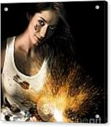 Woman With Angle Grinder Spraying Sparks Acrylic Print