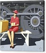 Woman With Locomotive Acrylic Print