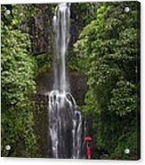 Woman With Umbrella At Wailua Falls Acrylic Print