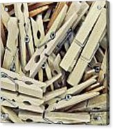 Wooden Clothes Pegs Acrylic Print