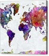 World Map In Watercolor  Acrylic Print