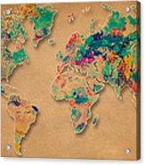 World Map Watercolor Painting  Acrylic Print