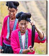 Yao Ethnic Minority Women On Rice Terrace Guilin China Acrylic Print