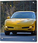 Yellow Corvette Acrylic Print