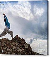 Yoga On Mountain Acrylic Print