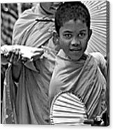 Young Monks Bw Acrylic Print
