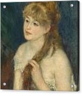 Young Woman Braiding Her Hair Acrylic Print