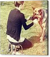 Young Woman In 20s Playing Fetch With Her Dog Acrylic Print