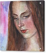 Young Woman Watercolor Portrait Painting Acrylic Print by Svetlana Novikova