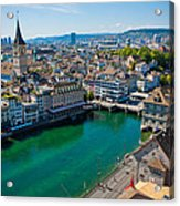 Zurich From The Grossmunster Acrylic Print