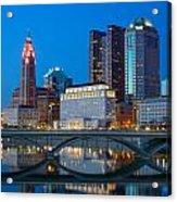Fx2l-516 Columbus Ohio Night Skyline Photo Acrylic Print