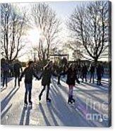 Ice Skating At Hampton Court Palace Ice Rink England Uk Acrylic Print