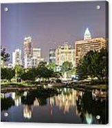 Skyline Of Uptown Charlotte North Carolina At Night Acrylic Print