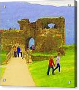 Tourists And The Path At Ruins Of The Urquhart Castle Acrylic Print