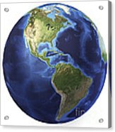 3d Rendering Of Planet Earth, Centered Acrylic Print
