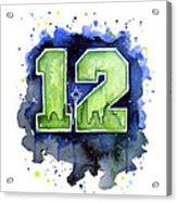 12th Man Seahawks Art Seattle Go Hawks Acrylic Print