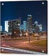 Skyline Of Uptown Charlotte North Carolina At Night. Acrylic Print