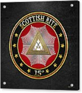 15th Degree - Knight Of The East Jewel On Black Leather Acrylic Print