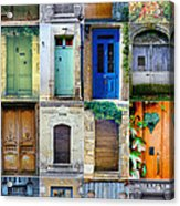 16 Doors In France Collage Acrylic Print by Georgia Fowler