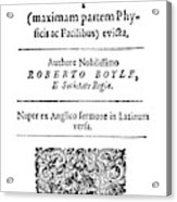 Robert Boyle (1627-1691) Acrylic Print