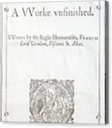 1627 Francis Bacon New Atlantis Frontis Acrylic Print
