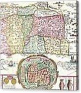 1632 Tirinus Map Of The Holy Land Acrylic Print