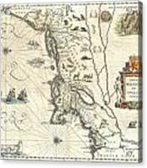 1635 Blaeu Map Of New England And New York Acrylic Print by Paul Fearn