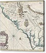 1676 John Speed Map Of Carolina Acrylic Print by Paul Fearn