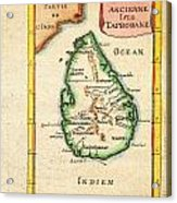 1686 Mallet Map Of Ceylon Or Sri Lanka Taprobane Geographicus Taprobane Mallet 1686 Acrylic Print