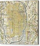 1696 Genroku 9 Early Edo Japanese Map Of Kyoto Japan Acrylic Print