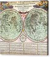 1707 Homann And Doppelmayr Map Of The Moon Geographicus Tabulaselenographicamoon Doppelmayr 1707 Acrylic Print