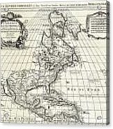1708 De Lisle Map Of North America Covens And Mortier Ed Geographicus Ameriqueseptentrionale Covensm Acrylic Print