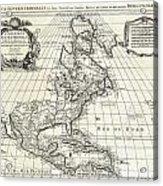 1708 De Lisle Map Of North America Acrylic Print