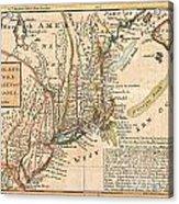 1729 Moll Map Of New York New England And Pennsylvania  Acrylic Print