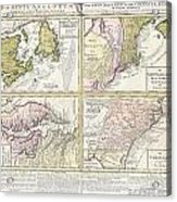 1737 Homann Heirs Map Of New England Georgia And Carolina And Virginia And Maryland Acrylic Print