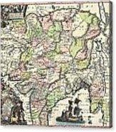 1740 Seutter Map Of India Pakistan Tibet And Afghanistan Acrylic Print