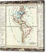 1760 Desnos And De La Tour Map Of North America And South America Geographicus Amerique Desnos 1760 Acrylic Print