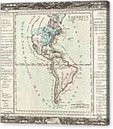 1760 Desnos And De La Tour Map Of North America And South America Acrylic Print