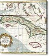 1763 Terreni  Coltellini Map Of Cuba And Jamaica Acrylic Print