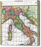 1780 Raynal And Bonne Map Of Italy Acrylic Print
