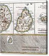 1780 Raynal And Bonne Map Of Mascarene Islands Reunion Mauritius Bourbon Acrylic Print