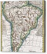1780 Raynal And Bonne Map Of South America Acrylic Print