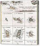 1780 Raynal And Bonne Map Of The Virgin Islands And Antilles West Indies Acrylic Print