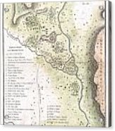 1783 Bocage Map Of The Topography Of Sparta Ancient Greece And Environs Acrylic Print