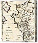 1786 Bocage Map Of Elis And Triphylia In Ancient Greece  Acrylic Print