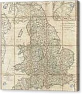 1790 Faden Map Of The Roads Of Great Britain Or England Acrylic Print