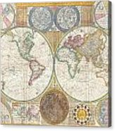 1794 Samuel Dunn Wall Map Of The World In Hemispheres Acrylic Print by Paul Fearn