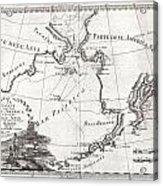 1798 Cassini Map Of Alaska And The Bering Strait Acrylic Print